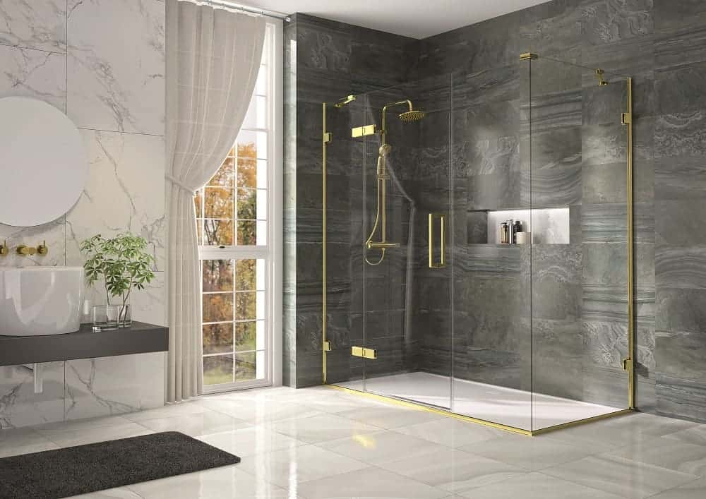 corner shower from a planned and built design from Keystone