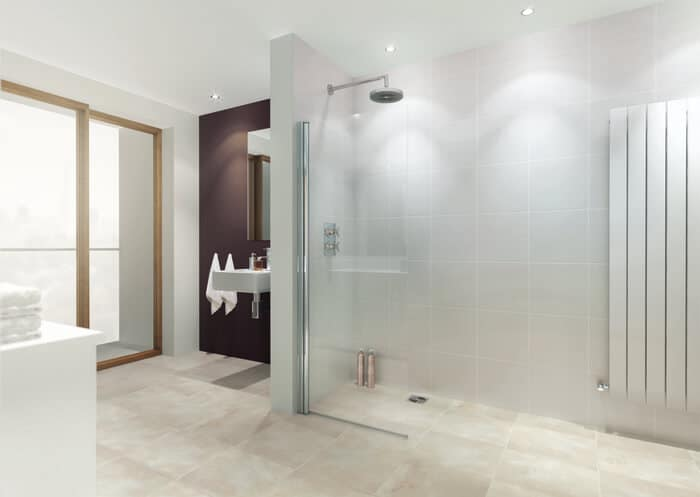 light brown tiled floor with cream and white tiles and extended shower walk in area