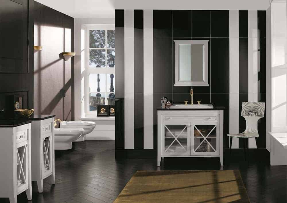 Two windows medium to small bathroom with black and white striped coloured wallpaper