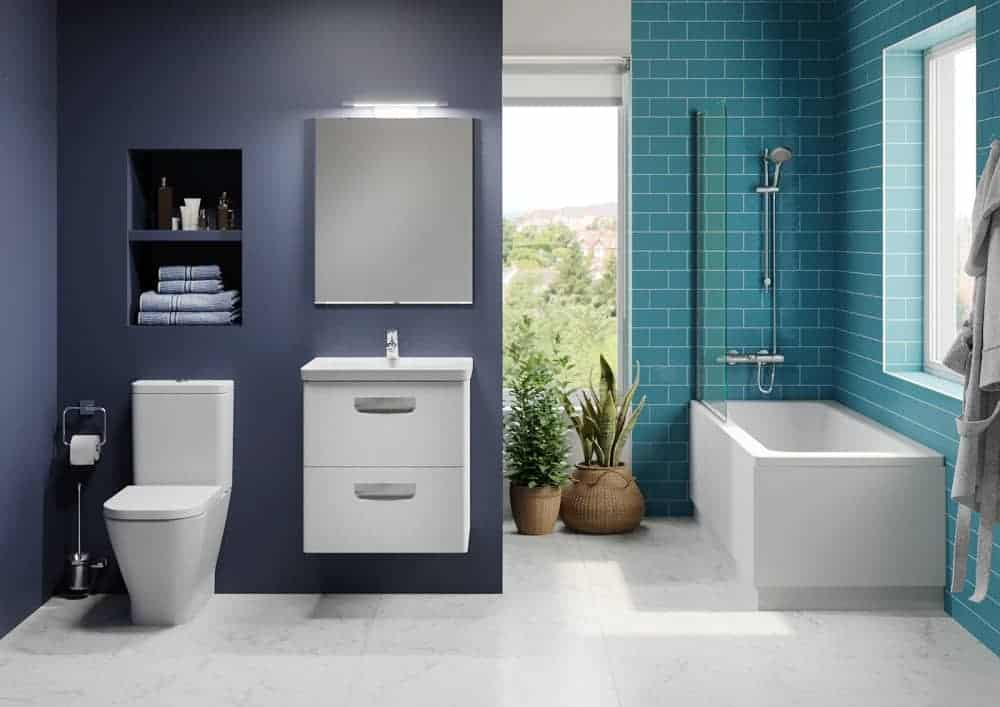 Bright colours in this modern bathroom support natural light from two large windows