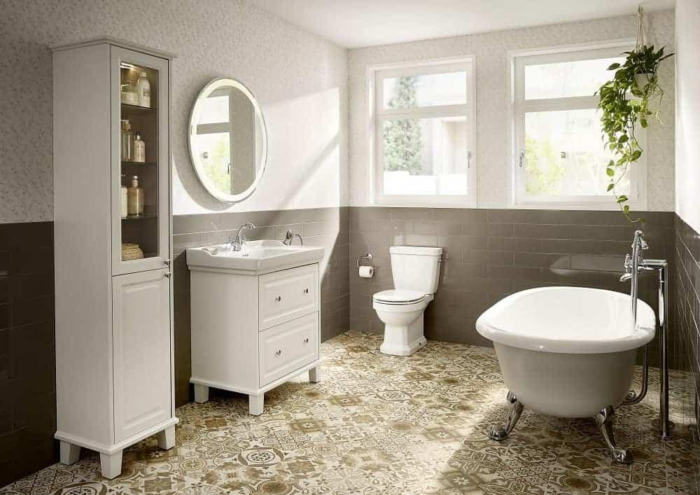 small retro bathroom using mid grey and bright white colour schemes