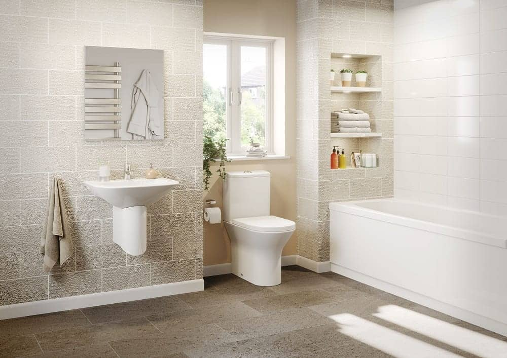 white toilet and light brown tiles