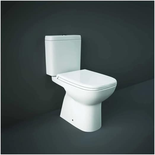 Closed coupled toilet system for a mid to small sized bathroom